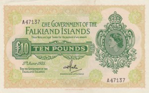Falkland Islands, 10 Pounds, 1975, UNC, p11a