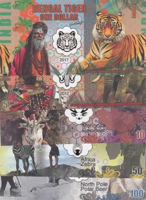 Fantasy banknotes Lot, 1 Dollar, 5 Dollars, 10 Dollars, 50 Dollars and 100 Dollars, 2017, UNC, FANTASY BANKNOTES, (Total 5 banknotes)