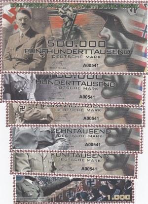Adolf Hitler banknotes, 1000 Mark, 5.000 Mark, 10.000 Mark, 50.000 Mark, 100.000 Mark and 500.000 Mark, UNC, FANTASY BANKNOTES, (Total 6 banknotes)