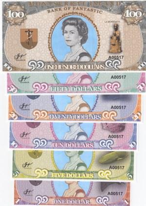 Montserrat Island, 1 Dollar, 5 Dollars, 10 Dollars, 20 Dollars, 50 Dollars and 100 Dollars, UNC, FANTASY BANKNOTES, (Total 6 banknotes)