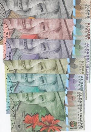 Aldabra Island, 5 Dollars, 10 Dollars, 20 Dollars, 50 Dollars, 100 Dollars and 500 Dollars, 2018, UNC, FANTASY BANKNOTES, (Total 6 banknotes)