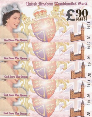 The Queen's 90th Birthday, 90 Pounds, 2016, UNC, FANTASY BANKNOTES, (Total 5 banknotes)