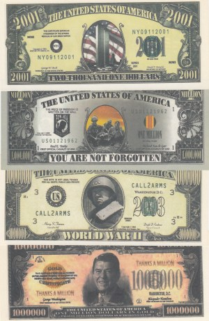 United States Of America fantasy banknotes lot, 1.000.000 Dollars (3) and 2001 Dollars, FANTASY BANKNOTES, (Total 4 banknotes)