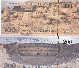 Turkey, 100 Lira and 200 Lira, 2016, UNC, FANTASY BANKNOTES, (Total 2 banknotes)