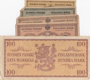 Finland, 25 Pennia, 50 Pennia, 1 Markka (2) and 100 Markkaa, 1916 / 1957, POOR / VERY FINE, (Total 5 banknotes)