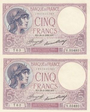 France, 5 Francs, 1933, UNC, p72e, (Total 2 consecutive banknotes)