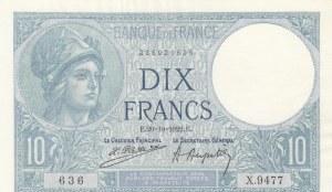 France, 10 Francs, 1922, AUNC, p73c