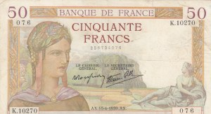 France, 50 Francs, 1939, VF, p85b