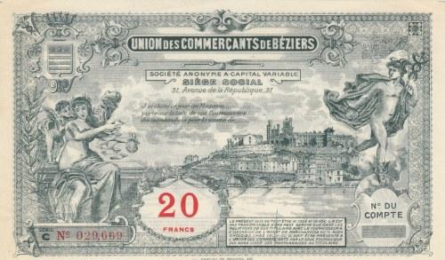 France, Beziers, 10 Francs, 1920, UNC