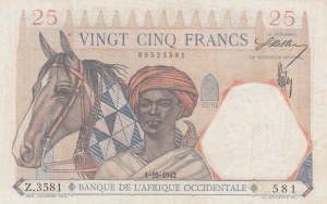 French West Africa, 25 Francs, 1942, XF, p27