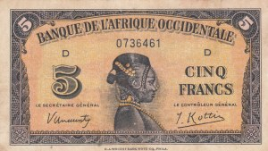 French West Africa, 5 Francs, 1942, VF, p28