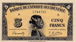 French West Afrıca, 5 Francs, 1942, AUNC (-), p28