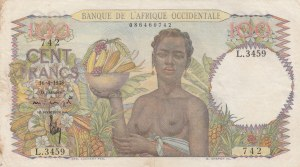 French West Africa, Afrique Occidentale Française, 100 Francs, 1948, XF (-), p40