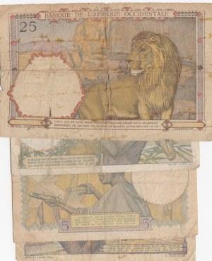 French West Africa, 5 Francs (2), 10 Francs, 25 Francs, 1942 /1948, POOR / VF, (Total 4 banknotes)