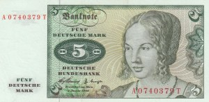 Germany, 5 Mark, 1960, XF (+), p18