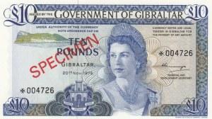 Gibraltar, 10 Pounds, 1975, UNC, p22, SPECIMEN