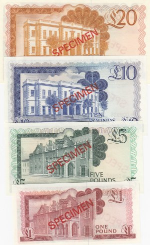 Gibraltar, 1-5-10 and 20 Pounds, 1975, UNC, p20as-p21as- p22as-p23as, SPECIMEN, (Total 4 banknotes)
