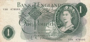 Great Britain, 1 Pound, 1960, XF, p374a, ERROR