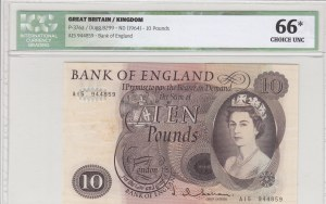 Great Britain, 10 Pounds, 1964, UNC, p376a