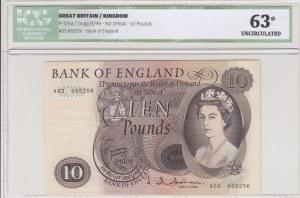 Great Britain, 10 Pounds, 1964, UNC, p376a