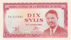 Guinee, 10 Sylis, 1960, UNC, p23a