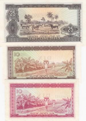 Guinea, 10 Sylis (2) and 25 Sylis, 1971-1980, UNC, p16-p23-p24, (Total 3 banknotes)
