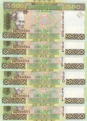 Guinee, 500 Francs Guinees, 1960, UNC, p39, (Total 6 banknotes)