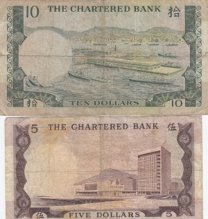 Hong Kong, 5 Dollar and 10 Dollars, 1970-1975, VF, p73a / p74a