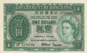 Hong Kong, 1 Dollar, 1957, XF, p324Ab