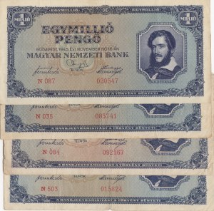 Hungary, 1.000.000 Pengo, 1945, FINE- VF, p122, (Total 5 banknotes)
