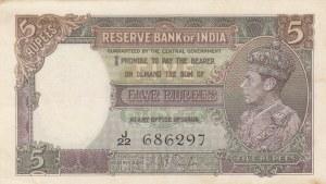 India, 5 Rupees, 1937, AUNC, p18b