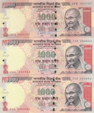 India, 1000 Rupees, 2011-2012, AUNC /UNC, p107, (Total 3 banknotes)