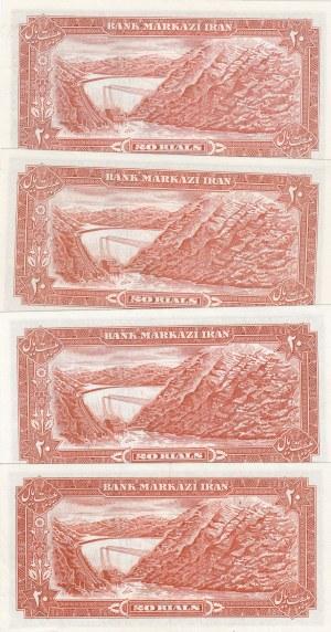 Iran, 20 Rials (4), 1974-1979, XF (+) / UNC, p100a2 (2)- p100c (2), (Total 4 banknotes)