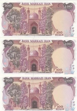 Iran, 100 Rials (3), 1981, UNC, p132, (Total 3 banknotes)
