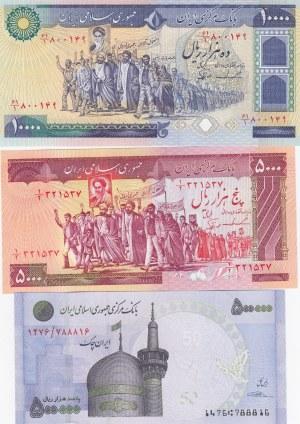 Iran, 5.000, 10.000 and 500.000 Rials, 1981-2015, UNC,  p139b-p134c-p154, (Total 3 banknotes)