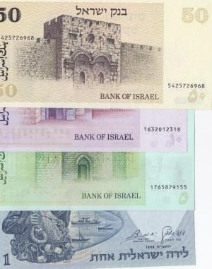 Israel, 1 Lira, 5 Sheqalim, 10 Lirot and 50 Sheqalim, 1958/ 1973 /1978 /1978, UNC, p30/ p44 / p39 / p46, (Total 4 banknotes)