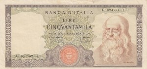 Italy, 50.000 Lire, 1970, VF, p99b