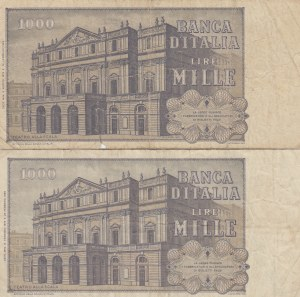 İtaly, 1.000 Lire, 1979, FİNE (-) / VF, p101, (Total 2 banknotes)