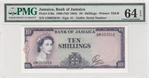 Jamaica, 10 Shillings, 1964, UNC, p51Bb