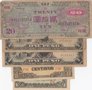 Japan, 1 Centavo, 10 Centavos, 1 Peso (2) and 20 Yen, POOR / UNC, (Total 6 banknotes)