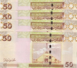 Libya, 50 Dinars, 2008, UNC, p75, (Total 4 bankotes)