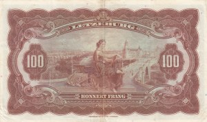 Luxembourg, 100 Francs, 1944, XF, p47