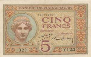 Madagascar, 5 Francs, 1937, XF, p35