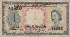 Malaya And British Borneo, 1 Dollar, 1953, FINE, p1