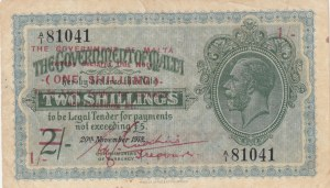 Malta, 2 Shillings on 1 Shilling, 1918, VF, p15
