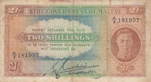 Malta, 2 Shillings, 1942, VF (-), p17