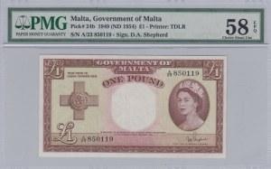 Malta, 1 Dollar, 1954, AUNC, p24b