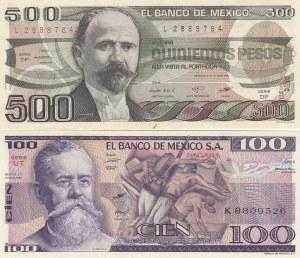 Mexico, 100 Pesos and 500 Pesos, 1982-1983, UNC, p74c / p79a, (Total 2 banknotes)