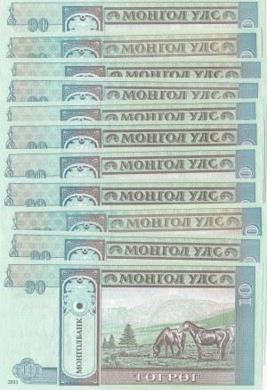 Mongolia, 10 Tugrik, 2011, UNC, p62, (Total 11 banknotes)