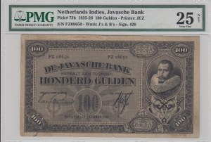 Netherlands İndies, 100 Gulden, 1928, VF, p73b
